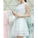 [Preorder] เดรสแฟชั่นแขนกุดประดับลวดลายเก๋ๆ สีขาว (ไซส์ S M L XL 2XL) 2015 new summer skirt ladies chiffon strapless dress tide suit summer tutu skirt long section of thin