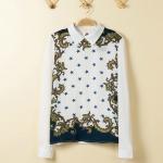 [Preorder] เสื้อแฟชั่นแขนยาวสไตล์ยุโรป แบรนด์ ZARA สกรีนลายเก๋ๆ 2014 spring new star models in Europe and America style blue star totem printing color chiffon shirt female long-sleeved shirt