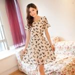 [Preorder] เดรสลูกไม้แฟชั่นแขนสั้นลายโบว์ สีขาว Chame chiffon short-sleeved summer new Korean version of Women 2013 summer women big yards short sleeve chiffon dress chiffon