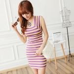 [Preorder] เดรสแฟชั่นแขนกุดลายขวางคอเหลี่ยม สีม่วงเหลือง 2013 summer new Korean version of Women Stripe Square Neck Slim short-sleeved skirt dress