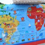What A World Map Panel Blue