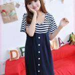 เดรสคลุมท้องคุณแม่ยุคใหม่ลายขวางสีน้ำเงินกระดุมหน้า 2012 Korean version of the new summer stripes cotton pregnant women dress maternity dress code relaxed pregnant women dress