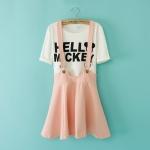 [Preorder] เสื้อยืดแขนสั้น Micky Mouse + เอี๊ยมกระโปรงบานสีชมพู 2014 summer new Korean fashion ladies strap dress skirts short sleeve T-shirt + letter piece suit