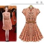 [Preorder] เดรสทำงานแฟชั่นแขนสั้นสไตล์ยุโรปสกรีนลาย สีชมพูส้ม Europe summer new women sweet lady floral lace bow waist dress flouncing