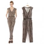 [Preorder] จั๊มสูทแฟชั่นแขนกุดคอวี แบรนด์ OASIS ลายเสื้อดาวสีน้ำตาล (ไซส์ S M L) 2014 Fall New 0ASIS European style sexy leopard print V-neck sleeveless vest piece pants jumpsuit
