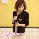 [Preorder] คาร์ดิแกนแฟชั่น (เสื้อคลุมแขนยาว) ประดับโบว์สีดำ spring new special attached butterfly knot pin princess sleeve short jacket