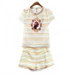 [Preorder] เซ็ทเสื้อแขนสั้นลายขวาง + กางเกงขาสั้นลายเดียวกับเสื้อ (ไซส์ S M L) 2015 summer new European and American fashion digital printing striped T-shirt + shorts female two-piece suit