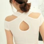 [Preorder] เสื้อแฟชั่นแขนสั้นไขว้หลัง สีขาว (ไซส์ S M) 2014 summer new Korean Women hollow cross back strapless short-sleeved t-shirt
