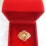 แหวนกังหัน4ใบ รุ่นดอกไม้ เสริมดวงเนื้อทองเหลืองชุบทองประดับเพชรพร้อมกล่องกำมะหยี่ค่ะ