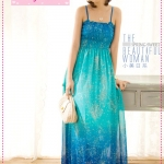 [Preorder] Maxi dress สุดเก๋ลายดอกไม้สีฟ้า 2012 spring and summer new Bohemian Chiffon dress