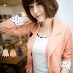 [Preorder] เสื้อสูทแฟชั่นแขนยาวชายแขนเสื้อลายจุด สีชมพู Korean series little reflexed jacket