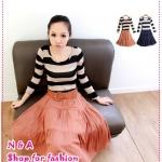 เดรสแฟชั่นแขนยาวลายขวางกระโปรงสีส้ม Spring and summer of 2012 the new lady stripes to fight the big skirt dress long-sleeved dress with belt