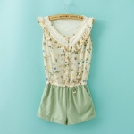 [Preorder] จั๊มสูทแฟชั่นแขนกุดลายนกและดอกไม้ สีเขียว (Size S M L) 2014 summer new Korean women's fashion stitching lace chiffon piece pants shorts