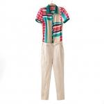 [Preorder] จั๊มสูทแฟชั่นแขนสั้นลายจุด สีสดใส Europe 2014 new female new summer home stitching Printed chiffon harem pants casual pants Siamese
