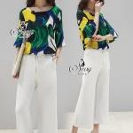 ชุด Set เสื้อ+กางเกงยาวสีขาวดีเทลซิปหน้า