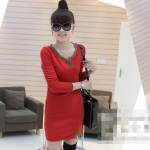 [Preorder] เดรสแฟชั่นแขนยาวเข้ารูปคอวี สีแดง 2012 the new thickened models of the winter section classic dress V-neck long-sleeved Slim wild dress