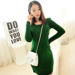 [Preorder] เดรสทำงานแฟชั่นแขนยาวสำหรับสาวไซส์เล็ก สีเขียว 2013 winter new Korean Women long-sleeved knit dress waist hems fresh