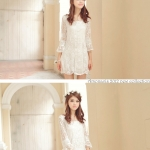 [Preorder] เดรสแฟชั่นแขนยาวสีขาว Spring paragraph lace ultra-US chiffon sleeves hook flower dress beach dress