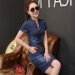 [Preordre] เดรสยีนส์แฟชั่นแขนสั้นเข้ารูป สีน้ำเงิน (ไซส์ S M L XL 2XL) 2016 new Korean female was thin package hip thin sleeveless denim skirt short-sleeved denim dress
