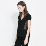 [Preorder] เสื้อแฟชั่นแขนสั้นสไตล์ยุโรปประดับลูกไม้ด้านข้าง สีดำ (ไซส์ S - L) 2014 summer new European and American style retro sexy side lace stitching T-shirt blouse