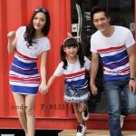 ชุดครอบครัว เสื้อครอบครัวลายขวาง ชายเสื้อยืดคอกลม หญิงเดรสสั้นคอกลม เสื้อเด็กใส่ได้ทั้งเด็กหญิง เด็กชาย สีขาว (ราคา 3 ตัว พ่อ แม่ ลูก) - pre order