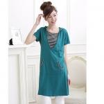[Preorder] เดรสคลุมท้องแขนสั้นสามารถให้นมคุณลูกได้ด้วยจ้าลายขวางเก๋ๆ สีฟ้า The Korean maternity dress summer cotton Maternity Dresses Nursing Wear fashion long section of pregnant women T-shirt