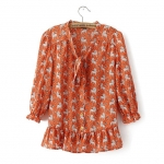 [Preorder] เสื้อชีฟองแฟชั่นแขนยาวสไตล์ยุโรป สกรีนลายเก๋ๆ สีส้ม (ไซส์ S M L) 2014 summer new models in Europe and America with big female lion Sleeve Lace shirt printed chiffon shirt women