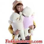 ตุ๊กตาหมีขี้อายหัวฟู นอนหลับหางเป็นรูปหัวใจ  ขนาด 48 CM  เซตคู่ ได้ทั้ง เสื้อสีน้ำตาล กับ เสื้อสีชมพู