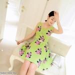 [Preorder] เดรสแฟชั่นแขนกุด retro กระโปรงบานลายดอกไม้ สีเขียว 2013 summer new Korean version of women colored flowers sleeveless dress vest dress