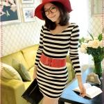 เดรสแขนยาวลายขวางสีดำขาว JackGrace fresh is Smart! Striped V-neck Slim dress color