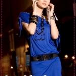 เดรสแฟชั่นเปิดไหล่สีน้ำเงิน Spring and summer of 2012, the Korean version of the new Women Slim sexy diamond package hip collar short-sleeved dress