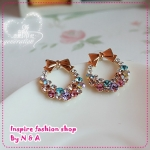 ตุ้มหูวงกลมประดับโบว์ Love decorated discipline genuine Colorful flower earrings bow Korea earrings Korea retro earrings female