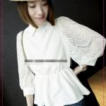 [Preorder] เสื้อแฟชั่นแขนยาวลูกไม้สีขาว Amoy edge of the 2012 summer and new female models retro Palace Ting Leisi long-sleeved elastic lapel jacket