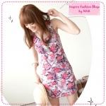 [Preorder] เดรสแขนกุดลายดอกไม้สีชมพู Flowers cotton long vest last spike