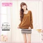 [Preorder] เดรสแขนกุดกระโปรงลายขวาง + เสื้อแขนยาวเก๋ๆ สีน้ำตาล autumn and winter Taiwan cotton T + striped dress