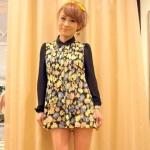 [Preorder] เสื้อชีฟองแฟชั่นลายดอกไม้จากนิตยสาร VIVI แบรนด์ LENA สีดำ Floral Flower Chiffon Long Shirt