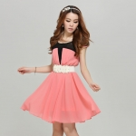 [Preorder] เดรสทำงานชีฟองแฟชั่นแขนสั้น สีชมพู (พร้อมเข็มขัด) 2013 summer new Korean version of Slim short sleeve ladies chiffon pleated dress ladies stitching