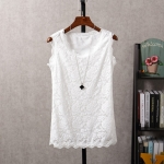 [Preorder] เสื้อลูกไม้แฟชั่นแขนกุด สีขาว Summer new Korean version of a short section of white sleeveless camisole Slim thin outer wear female backing shirt halter top
