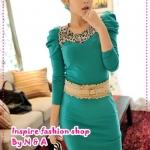 เดรสแขนยาวเข้ารูปสีเขียว JackGrace charming ~ lace stitching bubble sleeve dress color