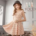 [Preorder] เดรสแฟชั่นแขนกุดลายโบว์ สีชมพู Wool sleeveless dress sequined bow (แบรนด์ Tokyo Fashion นำเข้าจากไต้หวัน)
