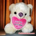 """ตุ๊กตาหมีบอกรัก กอดหัวใจ ปักลาย """" happy Birthday """"  ขนาด 40 CM สีขาว"""