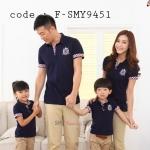 ชุดครอบครัว เสื้อครอบครัว โปโลคอปก สีกรมท่า (ราคา 3 ตัว พ่อ แม่ ลูก) - พร้อมส่ง