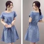 [Preordre] เดรสยีนส์แฟชั่นแขนสั้น เอวประดับโบว์ กระโปรงลายจุด สีฟ้าอ่อน (ไซส์ S M L XL 2XL)2016 new Korean collar strapless denim dress female summer long section Slim was thin skirt