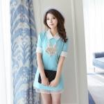 [Preorder] เดรสแฟชั่นแขนสั้นปกเชิ๊ต ประดับไข่มุกหน้าสุนัขจิ้งจอก สีฟ้า (ไซส์ S M L) 2015 summer new Women Korean version of sweet pearl stitching short-sleeved dress female summer was thin Slim A word skirt