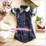 เสื้อแฟชั่นแขนสั้นระบายประดับลูกไม้สีน้ำเงิน 2012 short sleeve lace shirt, wooden boats sleeve chiffon shirt shirt lapel lotus leaf lace blouse (Preorder)
