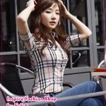 เสื้อเชิ๊ตแขนสามส่วนสีเหลืองอ่อน Hot new Korean wild personality casual plaid shirt temperament