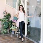♥♥ สีดำพร้อมส่ง ♥♥ กางเกงขายาวสีดำ ตัดขอบสีขาวตรงเอว ช่วงเอวยางยืดสวมใส่สบาย