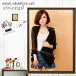 Top -064 เสื้อคลุมแฟชั่นใส่สบายผ้าชีฟอง สีดำ อกฟรี ((สินค้าพร้อมส่งค่ะ))