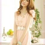 เดรสชีฟองแขนกุดประดับโบว์ที่ไหล่สีชมพู Spring and summer of 2012 the new Women Korean sweet lady bow chiffon dress + belt