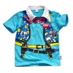 (มี S) เสื้อผ้าเด็ก แบบเสื้อโปโล สไตล์คาวบอย เท่ห์มากกก สีฟ้า